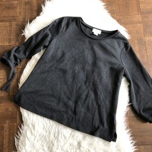 Liz Claiborne XL Black Sweater 3/4 Tie Sleeves
